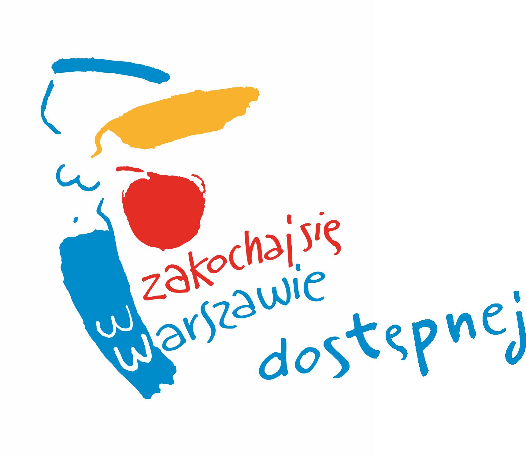 Widoczna jest kolorowa syrenka z napisem: zakochaj się w Warszawie dostępnej