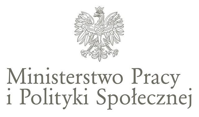Logo z widocznym orzełkiem bez tła i napisem Ministerstwo Rodziny Pracy i Polityki Społecznej