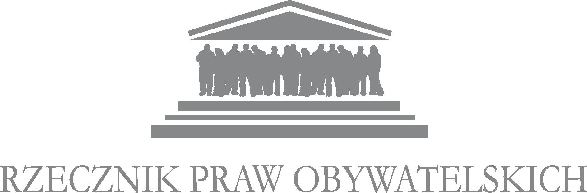 Logo Rzecznika Praw Obywatelskich. Widać Dach którego filarami są ludzie a pod nimi widoczne są schody