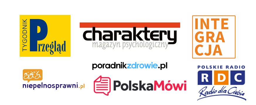 Grafika przedstawia patronów medialnych kampanii to jest  Tygodnik Przegląd, Charaktery, Integracja, Poradnik Zdrowie, Niepelnosprawni.pl, Polska Mówi, RDC